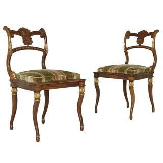 Image of Neoclassical Gilded French Empire Style Chairs - a Pair