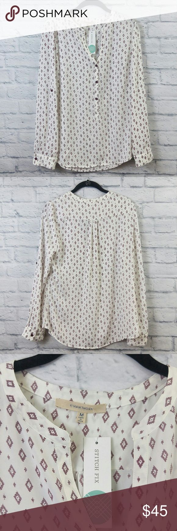 """NWT Stitch Fix 41Hawthorn Montreal Henley Top Med NWT Stitch Fix 41Hawthorn Montreal Henley Top Med.   Bust -19"""" Length -27"""" 00083418178 41 Hawthorn Tops Button Down Shirts"""