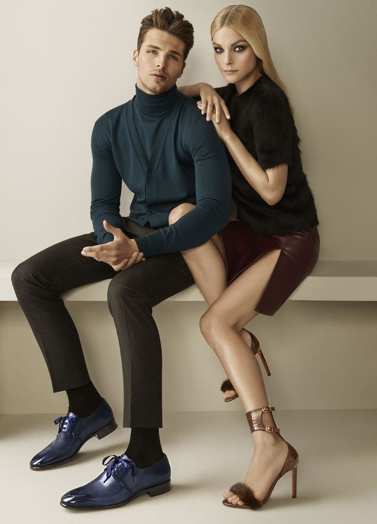 British model Edward Wilding joins Jessica Stam for Santoni's fall-winter 2015 campaign. Sporting turtlenecks for the outing, Edward shows us a fresh take on the twinset as he dons a color coordinated turtleneck and cardigan.