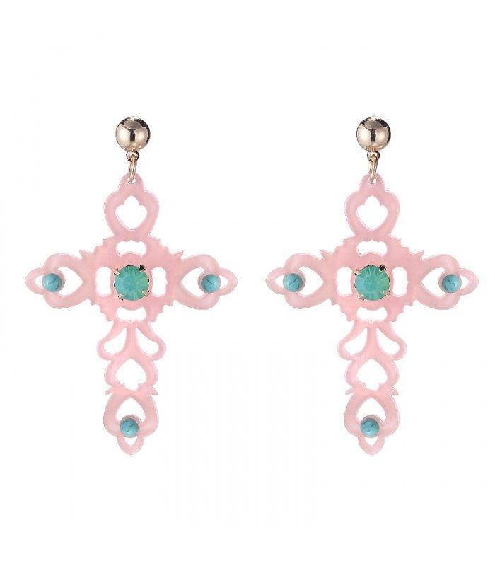 Roze oorbellen in de vorm van een kruis|De lengte van de oorbellen zijn 7. 50 cm bij 5 cm | Yehwang fashion en sieraden