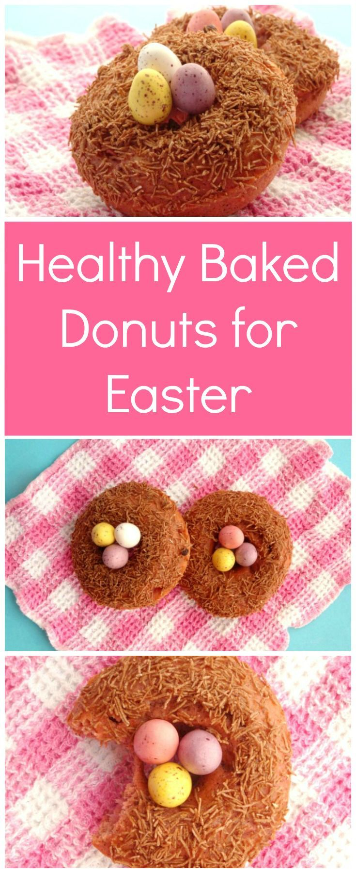 Healthy Baked Donuts for Easter Recipe | Such a cute Easter idea! Baked strawberry donuts topped with All-Bran cereal and chocolate eggs to look like bird nests. I love cute Easter food!