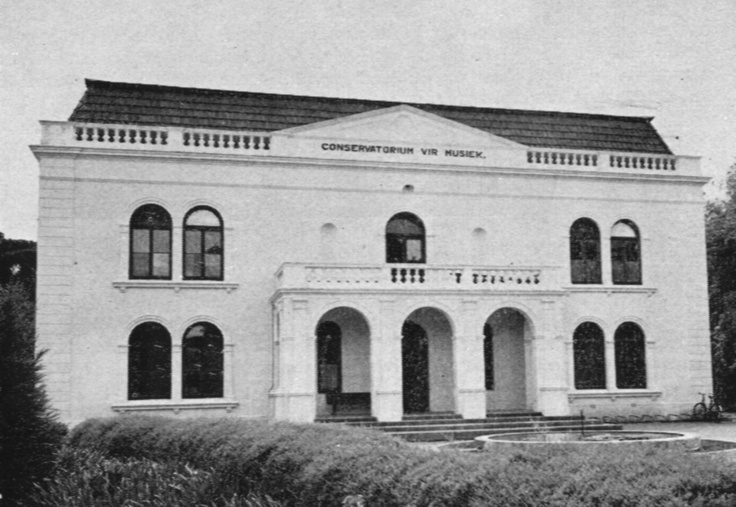 """""""The Conservatoire was founded in 1905 by proff LW Jannasch, Hans Endler, Mr Armin Schniter, Miss Nancy de Villiers and Mrs F von Willich. It was known as the South African Conservatorium of Music and was situated in Van Riebeeck Street, Stellenbosch."""""""