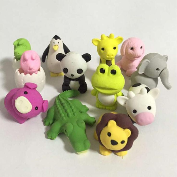 28 Design Cute Kawaii Cartoon Animal panda/pig/lion Rubber Eraser Lovely Korean Stationery For kids Students Creative item Gift