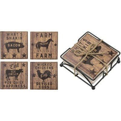 Our Stone Farmhouse Coaster Set features four clever sayings and a handy metal stand to keep them organized!  SIZE: 4
