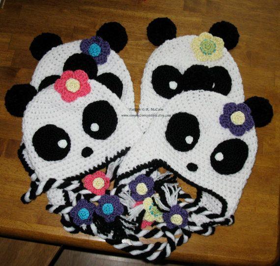 Panda Bear Earflap Hat Crochet Pattern : Panda Bear Hat Pattern - Crochet Pattern 11 - Beanie and ...