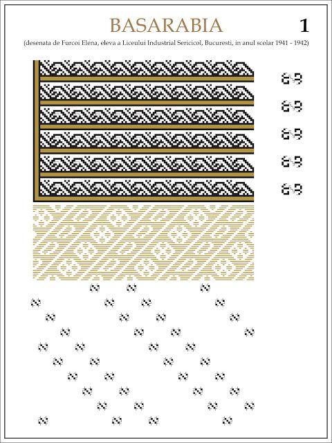 Semne Cusute: ie din BASARABIA Modele de ii Romanesti din caietul elevei Furcoi Elena, de la Liceul Industrial Sericicol Bucuresti, care a desenat aceste planse in clasa a VIII-a, anul scolar 1941 - 1942