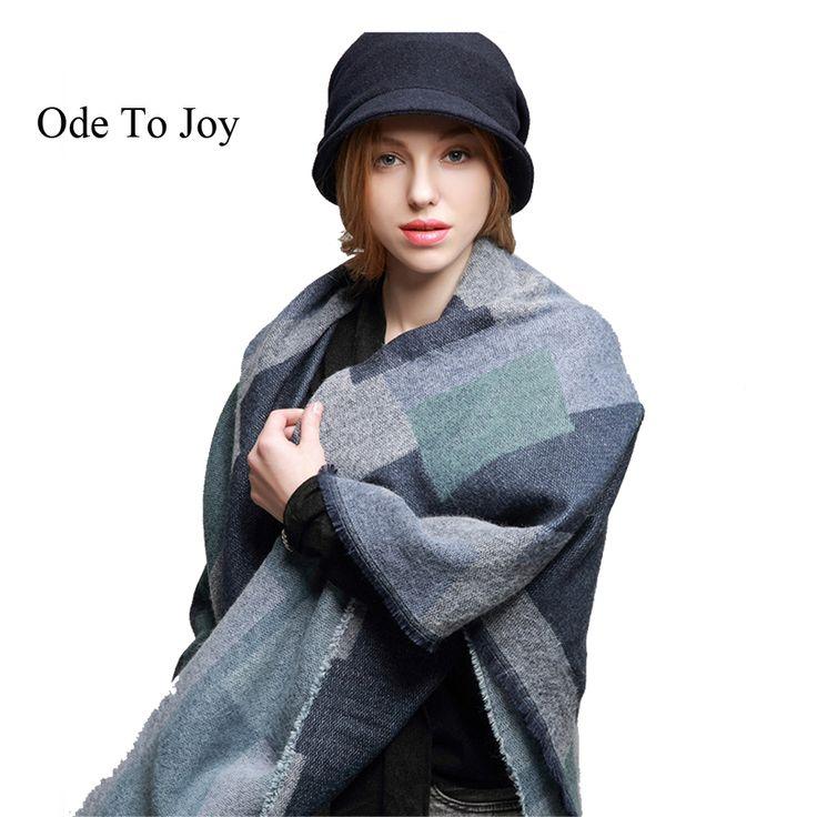 [Ode To Joy]luxury brand fashion plaid women winter scarf design acrylic cashmere shawls  big size scarves cape lady's poncho
