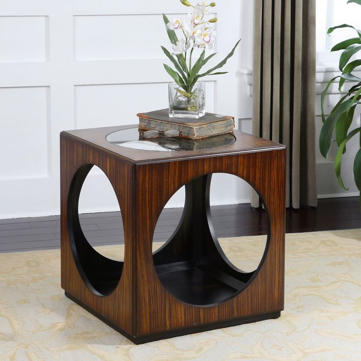 Shop For Uttermost Tura Cube Accent Table, And Other Living Room Tables At  Fiore Furniture Company In Altoona, PA. Richly Grained Zebra Wood Veneer  With ...