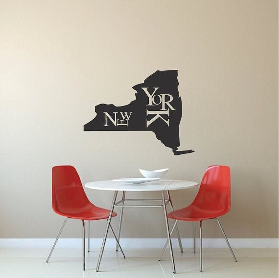 new york state wall decal artsy new york state wall vinyl sticker new york removable wall decal modern new york wall decal sticker b05 - Wall Vinyl Designs