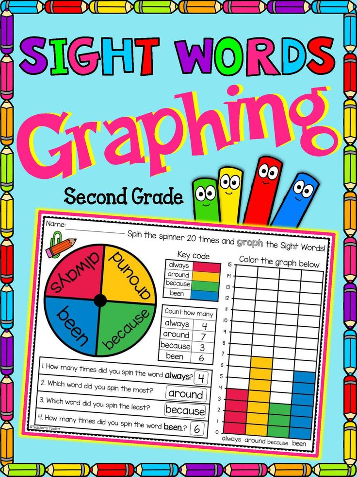 Sight Word Graphing Dolch Second Grade Print and Go!  Have fun spinning sight words!! Sight word practice doesn't have to be boring with these no prep, just print and go, worksheets.    This pack is also suitable for both Literacy and Math centers - just laminate for repeated use.  Each page comes in both blackline and color to suit your printing needs.  A word list is included at the beginning of the pack to highlight all the words used in the pack.