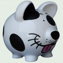 This guy would be a perfect donation bank for our SPOT program!    Happy Dog Piggy Bank 7 inch Artist Original - $29.95