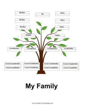 Set against a beautiful green sprout, this free, printable family tree has lots of sections for siblings as well as parents, grandparents and great-grandparents. Free to download and print