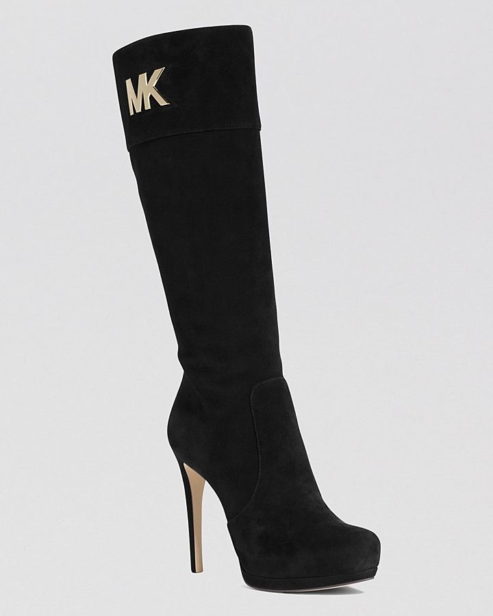 MICHAEL Michael Kors Tall Dress Boots - Hayley MK Logo Plate High Heel