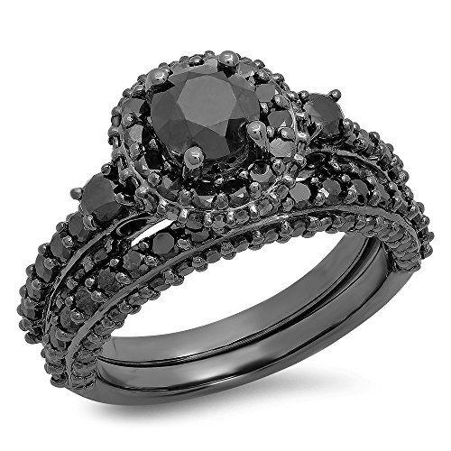 3.10 Carat (ctw) Black Rhodium Plated Sterling Silver Round Black Diamond Halo Style Engagement Ring Set
