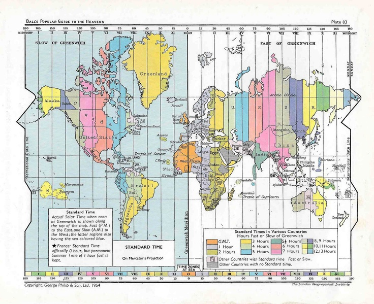 World Map Original Vintage Print Showing Standard Time Zones - Us time zone map with times