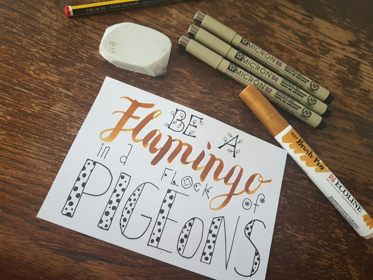 Handlettering brush lettering flamingo pigma ecoline dutchlettering