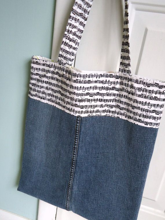 Upcycled Denim Bag with Music Notes Shopping Bag