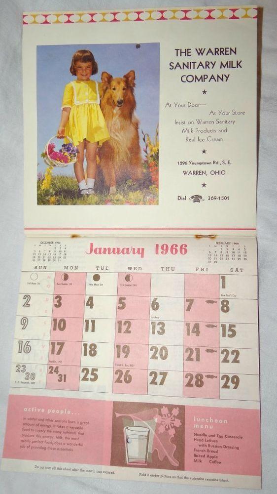 1966 Advertising Calendar Warren Sanitary Milk Company Warren Ohio #sanitarymilk
