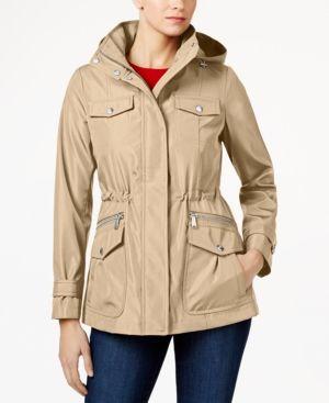 Michael Michael Kors Plus Size Hooded Raincoat - Tan/Beige 2X