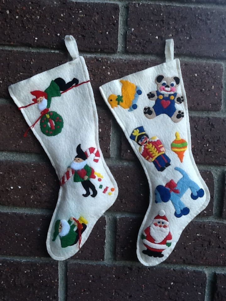 I made these stockings in the 70's. - J.S.  My vintage felt stockings