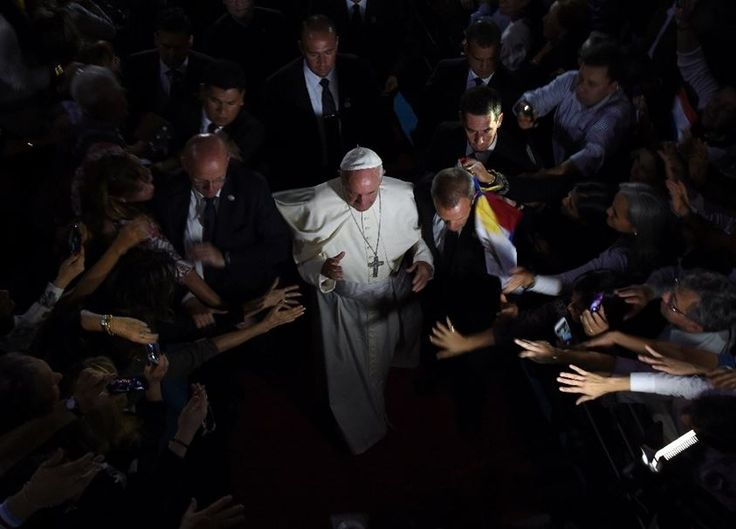 Pope Francis leaves the Leon Condou stadium in Asuncion, Paraguay after a meeting with representatives of the civil society