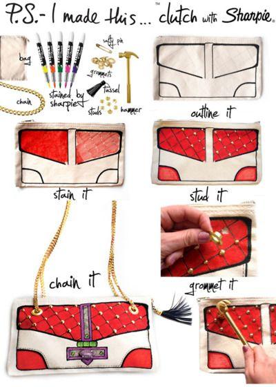 sharpie purseDiyclutch, Handbags, Diy Fashion, Markers, Sharpie, Safety Pin, Clutches Bags, Diy Clutches, Crafts