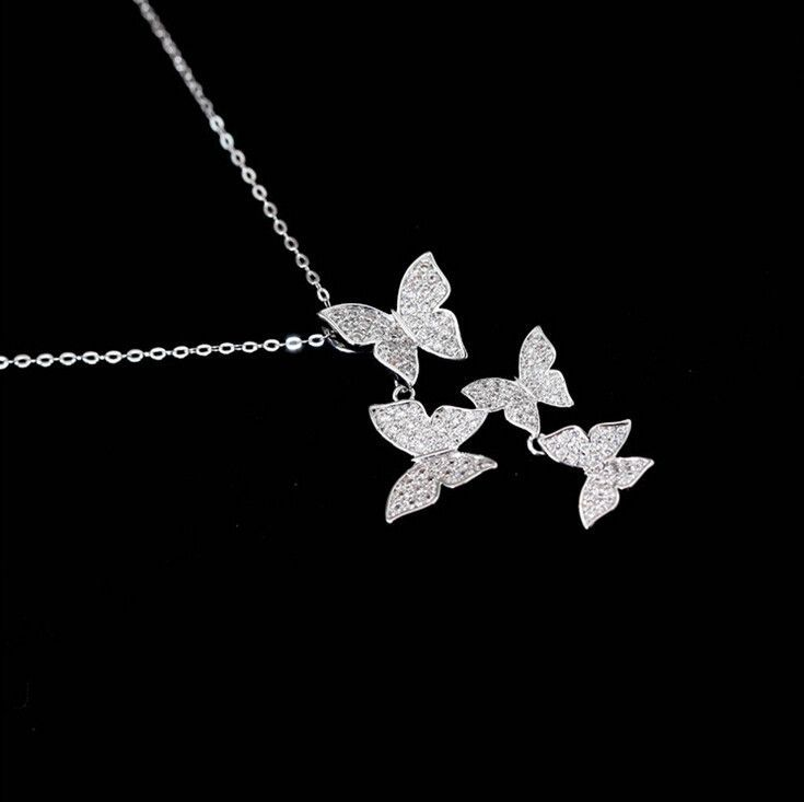 Sterling Silver Cubic Zirconia Diamond Butterfly Necklace