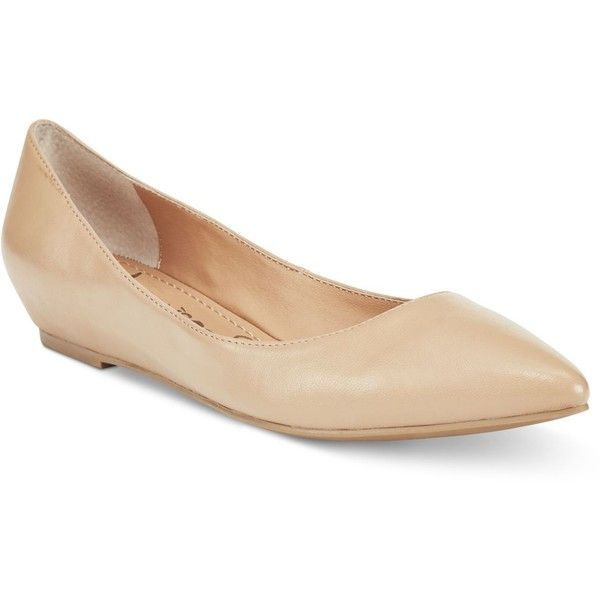 American Rag Emani Almond-Toe Flats, ($50) ❤ liked on Polyvore featuring shoes, flats, nude smooth, mid wedge shoes, nude flat shoes, nude flats, flat shoes and almond toe flats