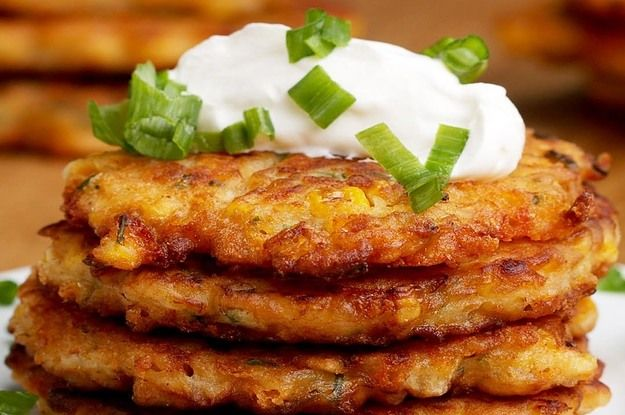 Cheddar Corn Fritters   To Halve Recipe:  3/4 cup flour  1 cup corn 1/4 cup cheese 2 tbsp and 2 tsp chives 1/4 cup milk 1 egg 1/2 tsp salt 1/2 tbsp chili powder  1/4 cup oil for frying