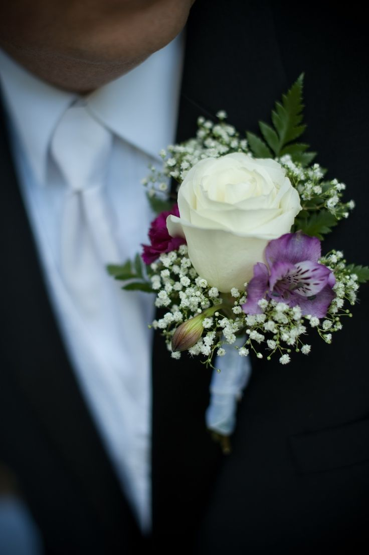 Wedding Boutonnieres | Rose and Alstroemeria wedding, Groom's Boutonniere - Jamie's Bridal ...