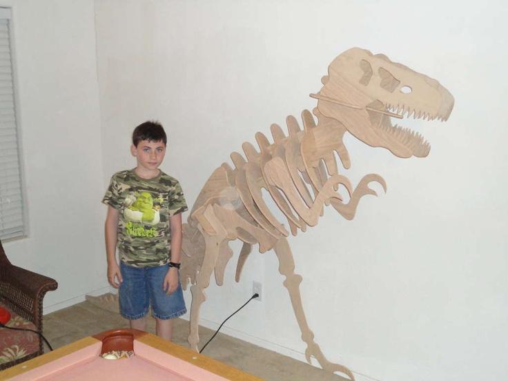 Large dinosaur skeleton template cutout of wood or cardboard
