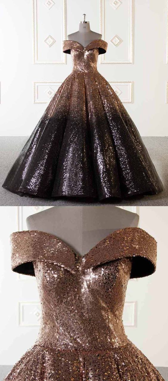 d8897a7b5c98 Luxury Sparkly Ball Gown Dresses Gold and Black Sequins Prom Evening Dresses