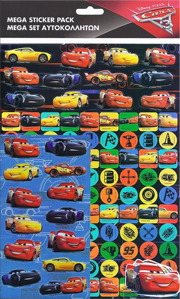 Stort og rigtig sejt mega Cars stickers ark med 150 seje og flotte stickers klistermærker fra Sjovogkreativ.dk
