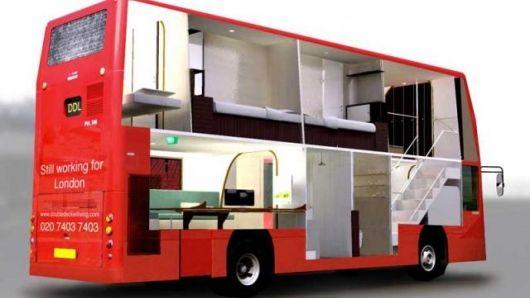 Double-decker bus living
