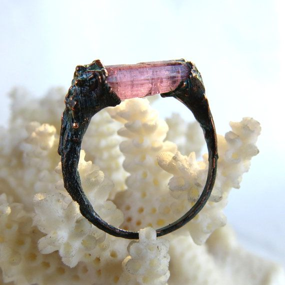 Raw pink tourmaline ring  Copper electroformed by LaurelinJewelry