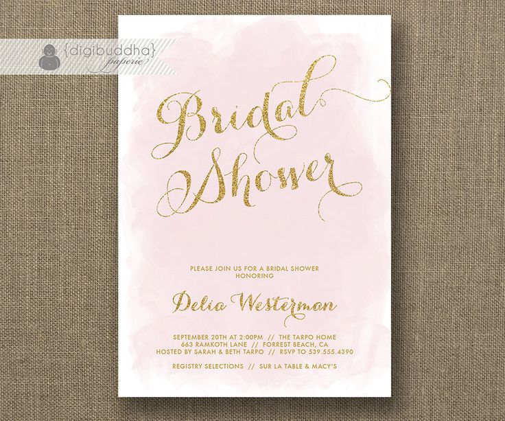 Blush Pink & Gold Glitter Bridal Shower Invitation Watercolor
