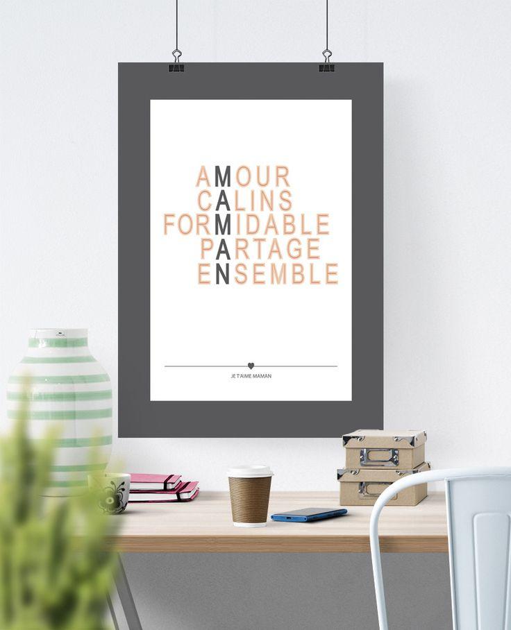 Affiche Poster Déco - Texte - Bonne fête Maman : Affiches, illustrations, posters par rgb