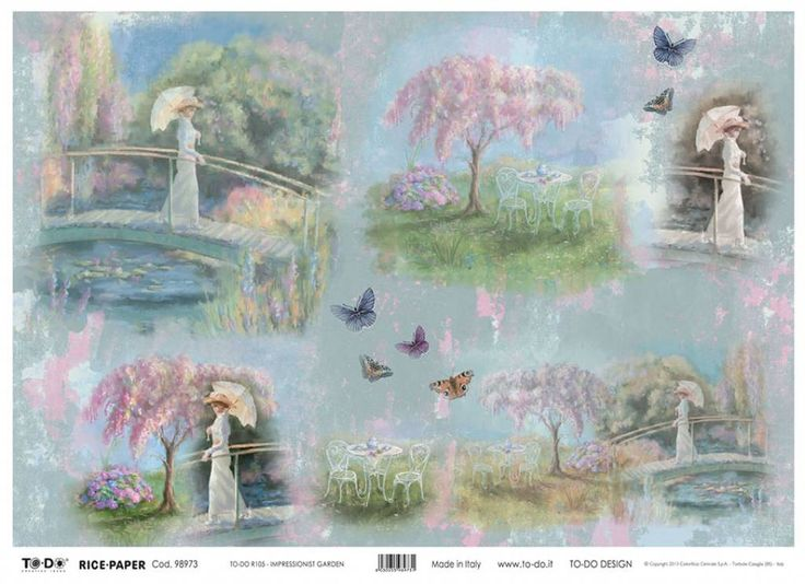 New Product! Impressionist Garden Rice Paper by TO-DO Design, #italianricepaper, #victoriandesignsricepaper, #victorian, #victorianlady