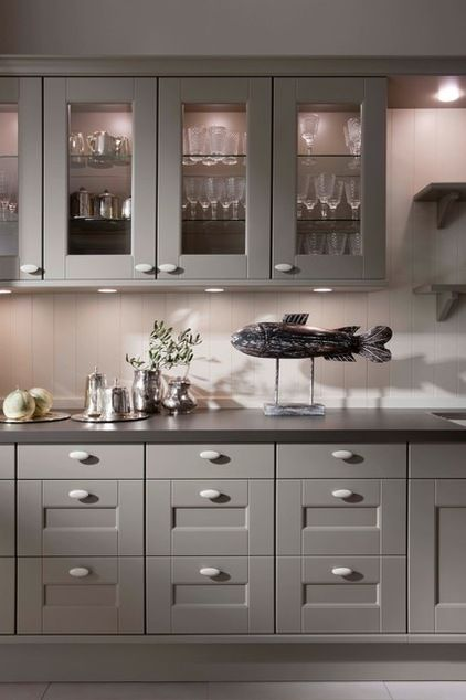 Gray cabinets with black countertop and stainless drawer for Kitchen cabinets yonkers