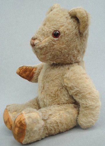 "Invicta UK Teddy Bear 1940s Taupe Wool Plush Glass Eyes Velvet Pads 13"" Jointed   eBay"