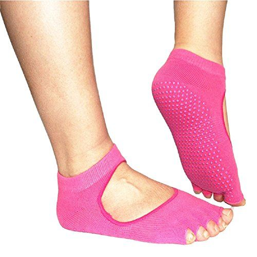 Alisagoo 2 Pack Yoga Socks Pilates Barre Sock with Grip for Girl Women Rose Red ** Check out this great product.  This link participates in Amazon Service LLC Associates Program, a program designed to let participant earn advertising fees by advertising and linking to Amazon.com.