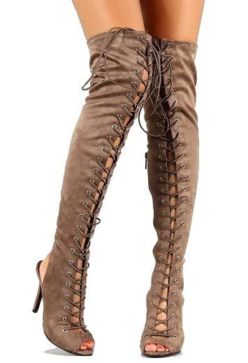 Lace Up Over The Knee Heel Boots - Yu Boots