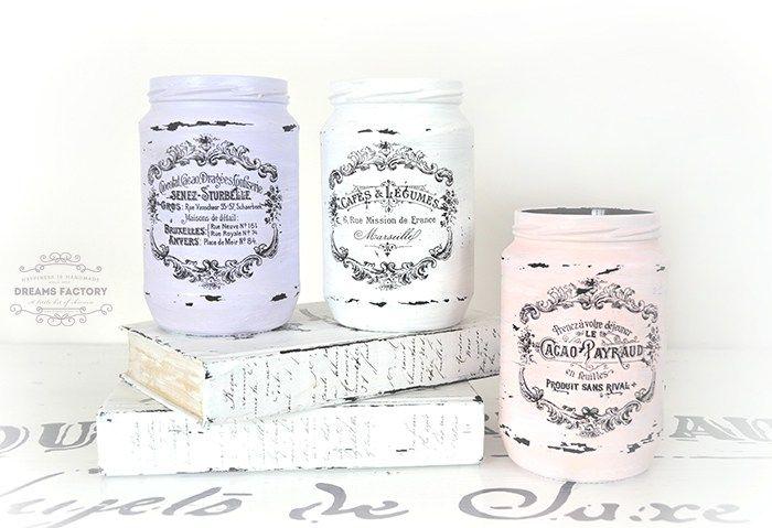 French Painted Mason Jars   Mason Jar Crafts Love