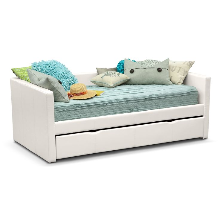 Perfect Match. Mixing sleepover fun with grown-up fashion, the Carey White Twin daybed is a match made in heaven for any kid. The pull-out trundle provides sleeping space for optimum convenience, and the low arms and back make for a clean, stylish look. The sleek, white faux leather with designer accent stitching is comfortable and hip at the same time. (Mattresses and accessories are not included.)