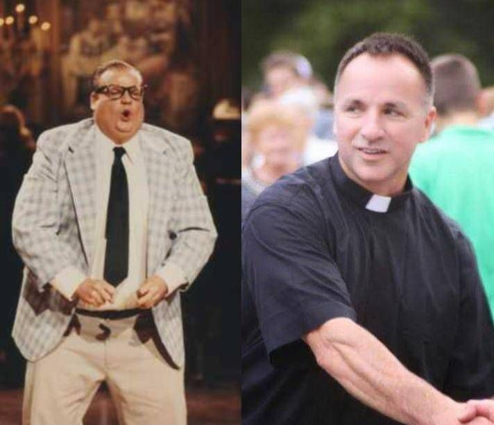 Matt Foley as played by Chris Farley, left, and his friend, the Rev. Matt Foley of Arlington Heights.