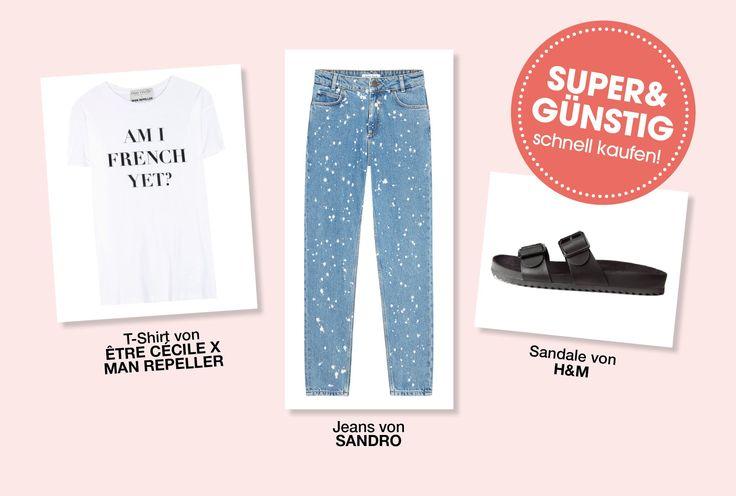 Man nehme eine coole Jeans, ein lässiges Statement-Shirt und bequeme Sandalen - und schon ist der chillige, aber trotzdem stylishe Samstags-Look fertig. In der Galerie erfahren Sie, in welchen Onlineshops Sie den heutigen Günstig-Look kaufen können