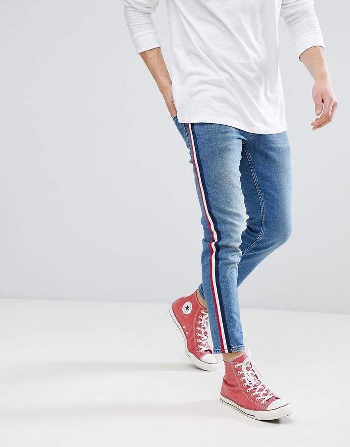 Asos DESIGN Slim Jeans In Mid Wash Blue With White Side Stripe 8dd0f3aff939c
