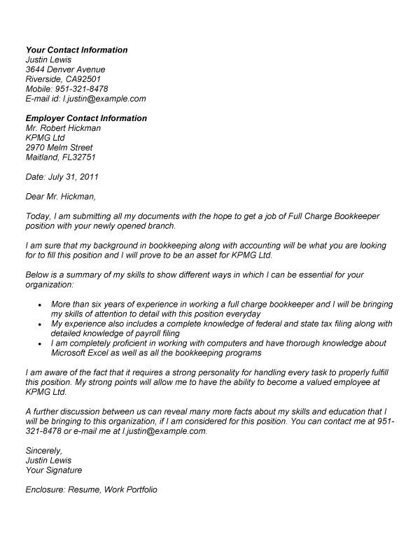 sample cover letter fro bookkeeping