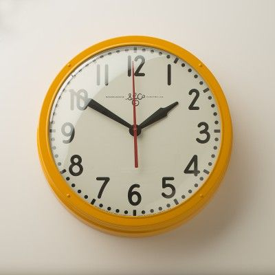 Industrial yellow clock exclusively from Schoolhouse Electric. $285.00
