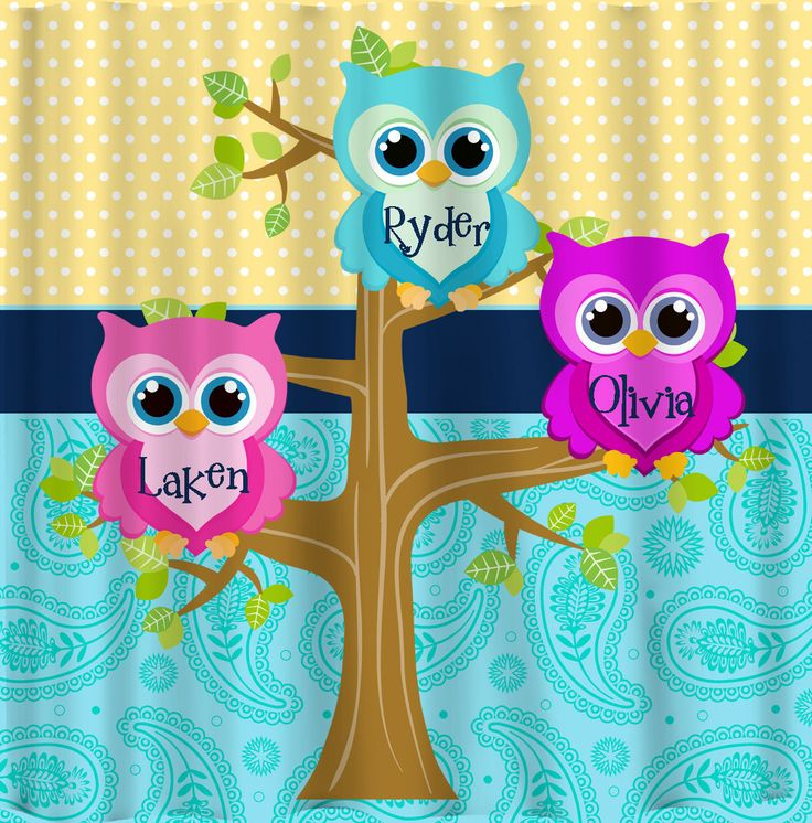Personalized Shared Multi Owls Shower Curtains Featuring Owl Friends   Any  Color Dots, Paisley Or Owls